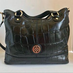 Antonio Melani Black Embossed Croc Tote Handbag